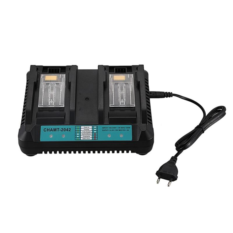 4A Dual Ports Li-Ion Battery Charger for Makita 14.4V 18V BL1830 BL1840 BL1845 BL1850 BL1860 BL1850B BL1860B BL1430 CHAMT-2042 P