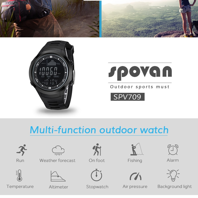 Barometric tracking smart fishing alert multi-functional e-fishing boy watch,water depth and temperature records