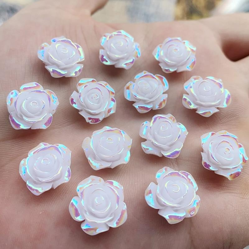 15 мм смолы 3D цветок Flatback Стразы Свадебные украшения Кнопки DIY для ремесла одежды 15 шт-HY300