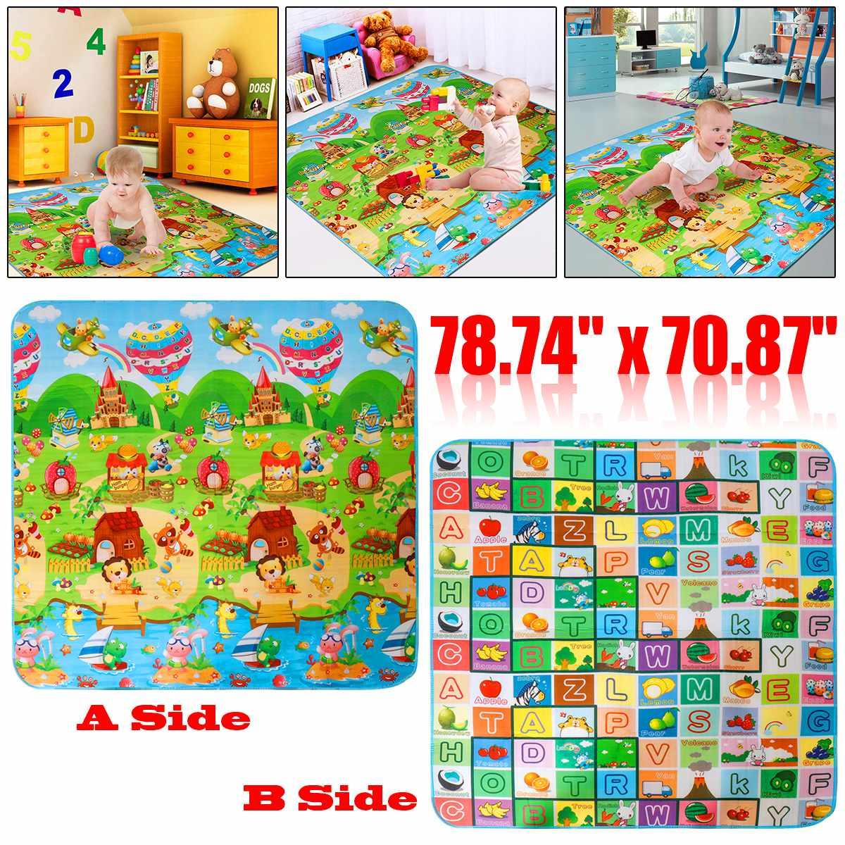 Alfombra para juegos de bebés que gatean, 2*1,8 metros, 1cm de grosor, almohadilla para escalar, letras de fruta de doble cara y juguetes para bebés de granja feliz, alfombra para niños, juego para bebés
