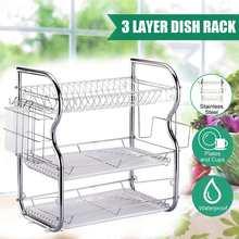 Escurridor de platos multifuncional de 2/3 niveles, soporte para secado de tazas, escurridor de acero inoxidable, bandeja de cocina