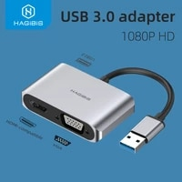 hagibis usb 3 0 to hdmi compatible vga adapter 4k hd multi display 2in1 usb to hdmi compatible converter for windows 7810 os