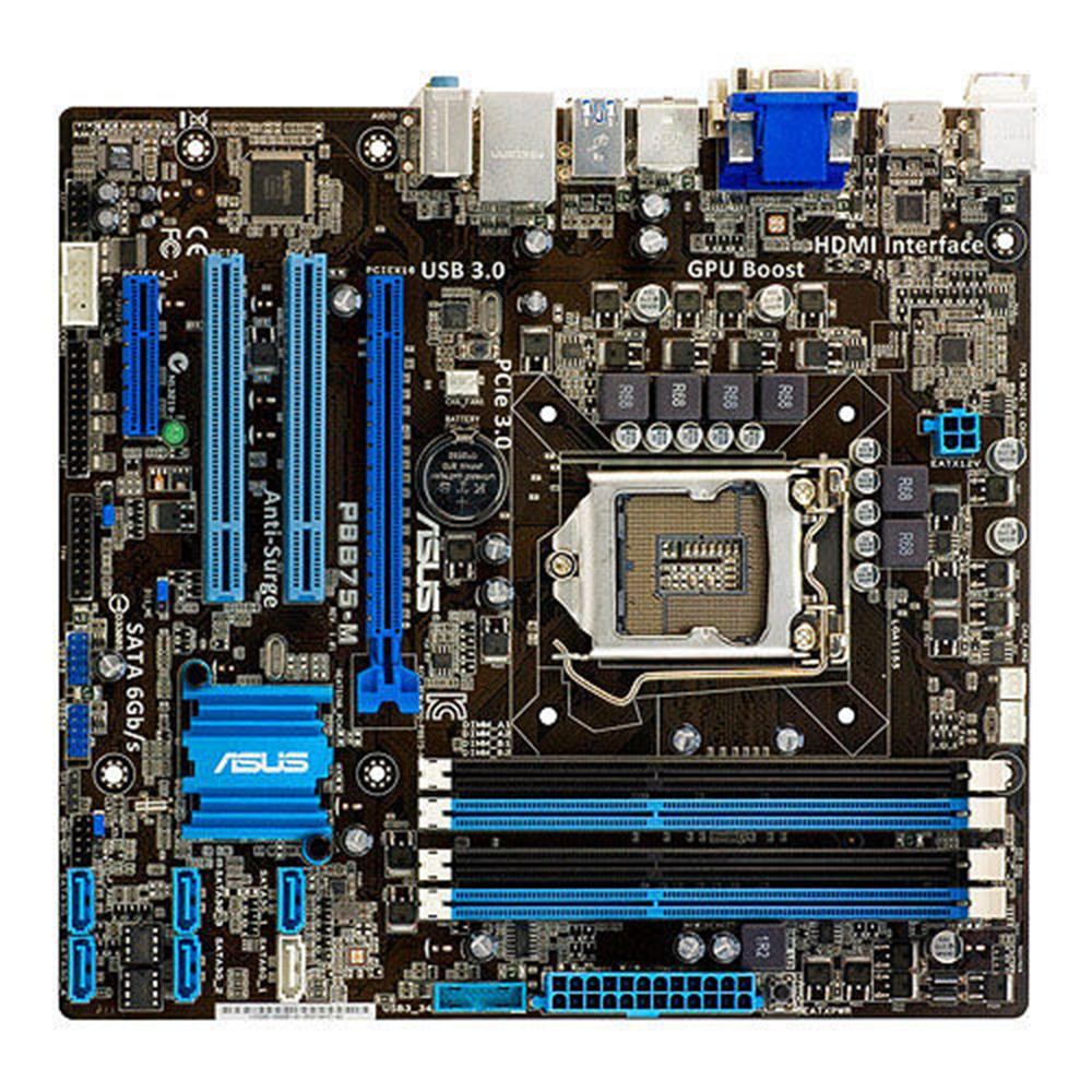 ASUS-اللوحة الأم p8b75m المستخدمة لسطح المكتب ، مكون كمبيوتر ، 1155 B75 DDR3 ، USB3.0 ، 32 جيجا بايت SATA III ، حالة جيدة ، تم اختباره بالكامل