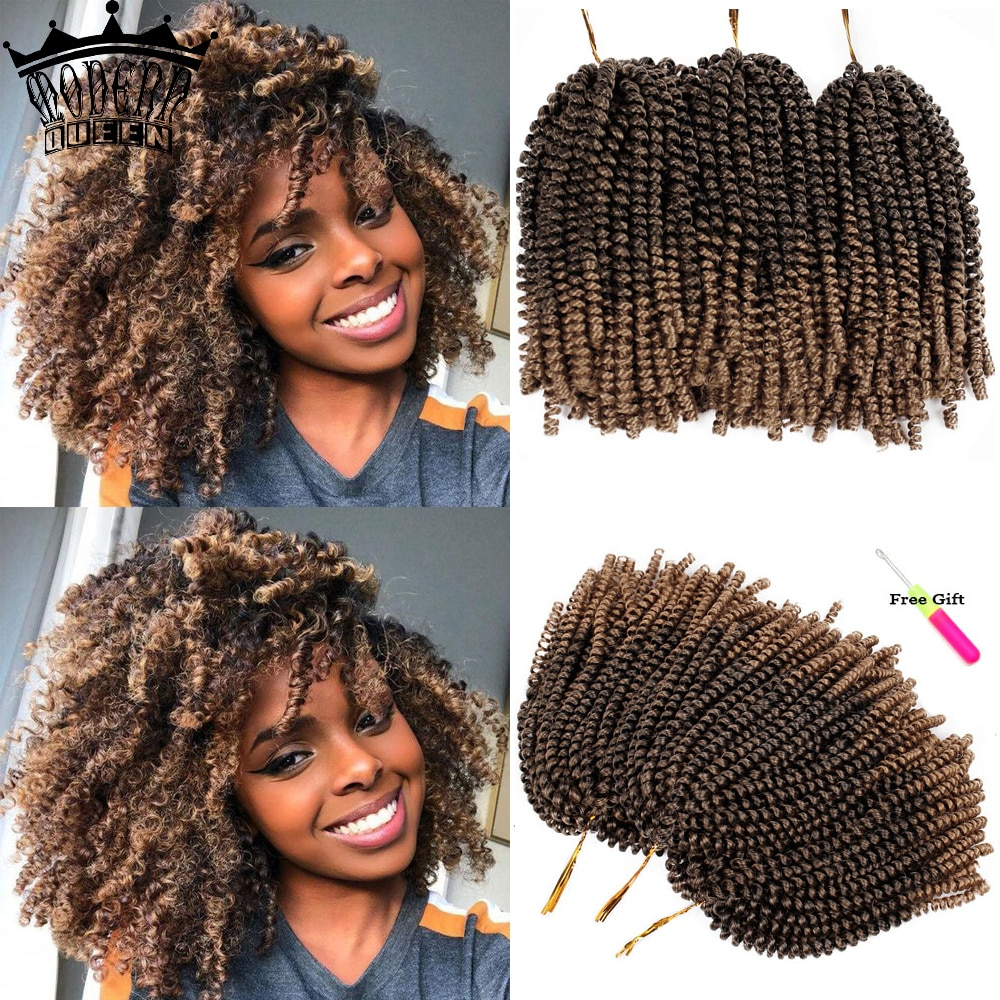 8inch Spring Twist Hair Crochet Braids Ombre Braiding Hair 110g Synthetic Fluffy Passion Twists Hair Extensions For Black Women onxy 8inch fluffy spring twist crochet hair extensions synthetic crochet braids black brown ombre braiding hair 110g