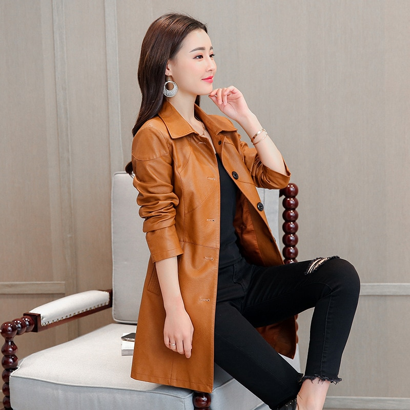 2021 new women's split leather coat middle long women leather jackets plus size leather coat brown medium long leather jacket enlarge