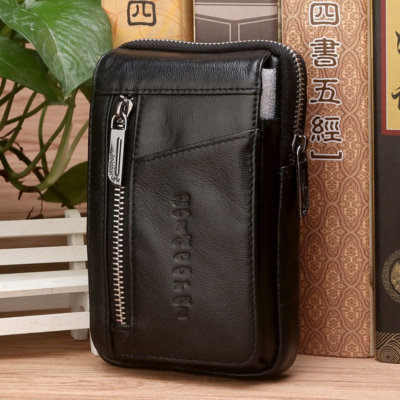 high quality genuine leather men hip bum belt purse fanny pack pouch mini cell mobile phone pocket cigarette case hook waist bag High Quality Genuine Leather Men Hip Bum Belt Purse Fanny Pack Pouch Mini Cell Mobile Phone Pocket Cigarette Case Hook Waist Bag