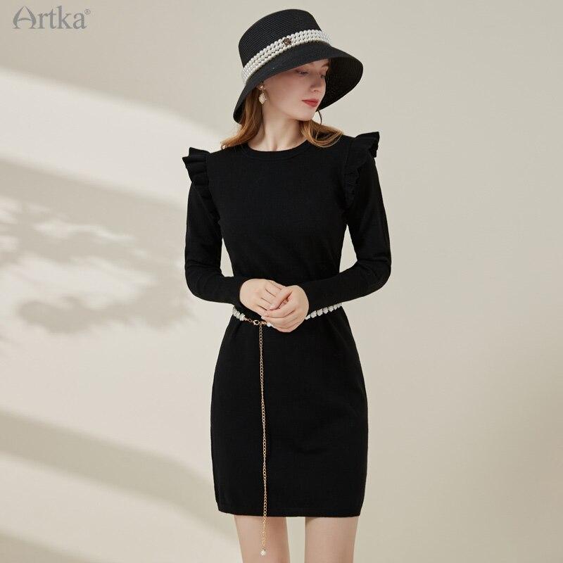 Женское трикотажное платье с рюшами ARTKA, черное элегантное платье миди из мягкой шерсти с длинным рукавом и круглым вырезом, на осень, LB25012D, ...