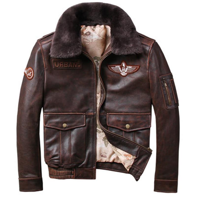 2021 Vintage Men's G1 Air Force Pilot Jackets Genuine Leather Cowhide Jacket Plus Size 5XL Fur Collar Winter Coat for Male