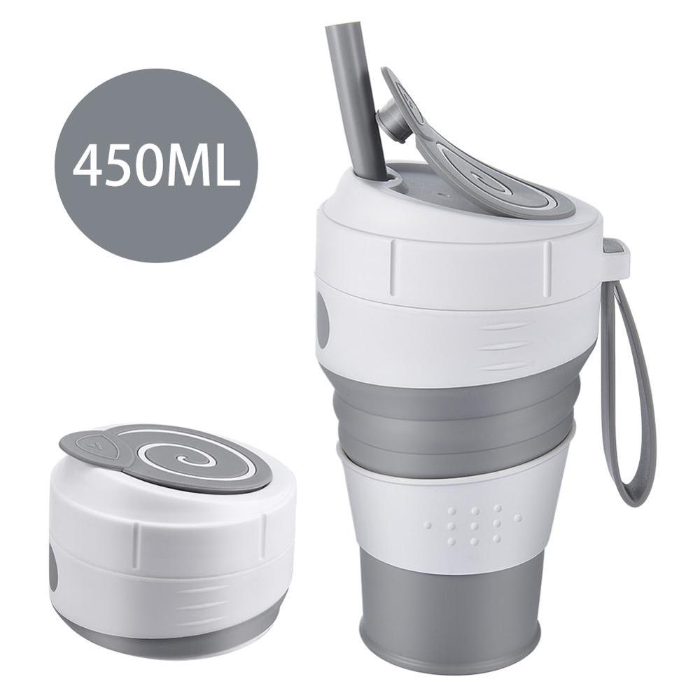 كوب قهوة 450 مللي قابل للطي من السيليكون مع غطاء مقاوم للتسرب من القش للسفر والتنزه والنزهات والغذاء الصف BPA كوب قهوة قابل للطي مجاني