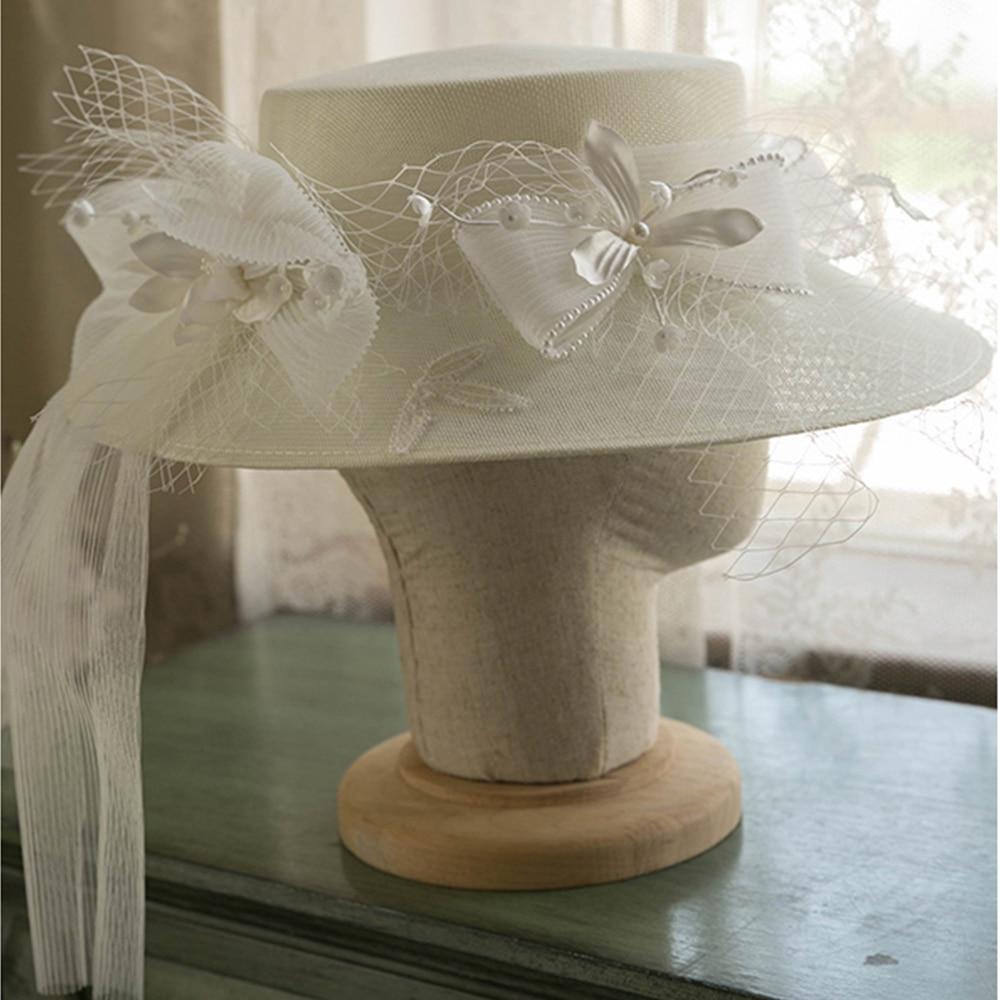 FS White Flower Mesh Bow Flat Hat Fedoras Big Brim Hats For Women British Style Church Hats Lady Der