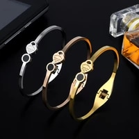 trendy lover women girls charm open cuff bangles 3 colors stainless steel heart brand bangles luxury wdiing jewelry