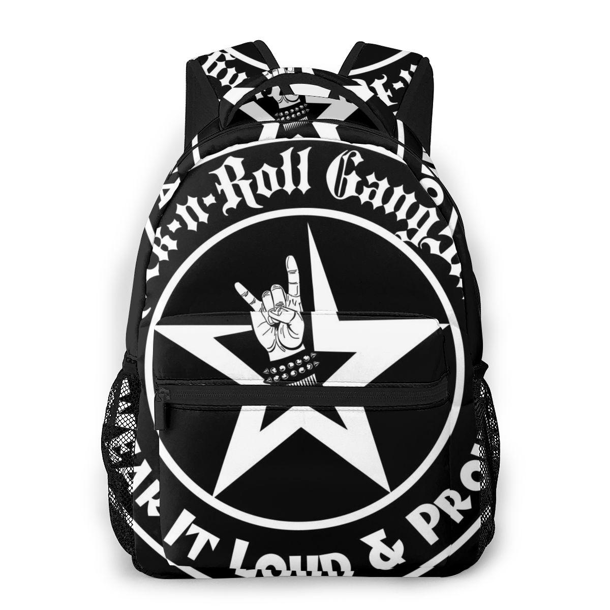 Rock N Roll-حقيبة ظهر مدرسية للمراهقات ، حقيبة كتف غير رسمية ، حقيبة سفر