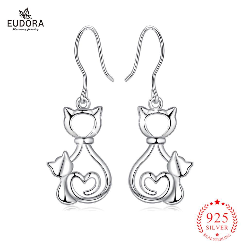 Pendientes de gota Eudora gato graso gatito 925 Sterling Silver E108 joyas de mascotas animales para mujeres niñas regalo para adolescentes Decoración