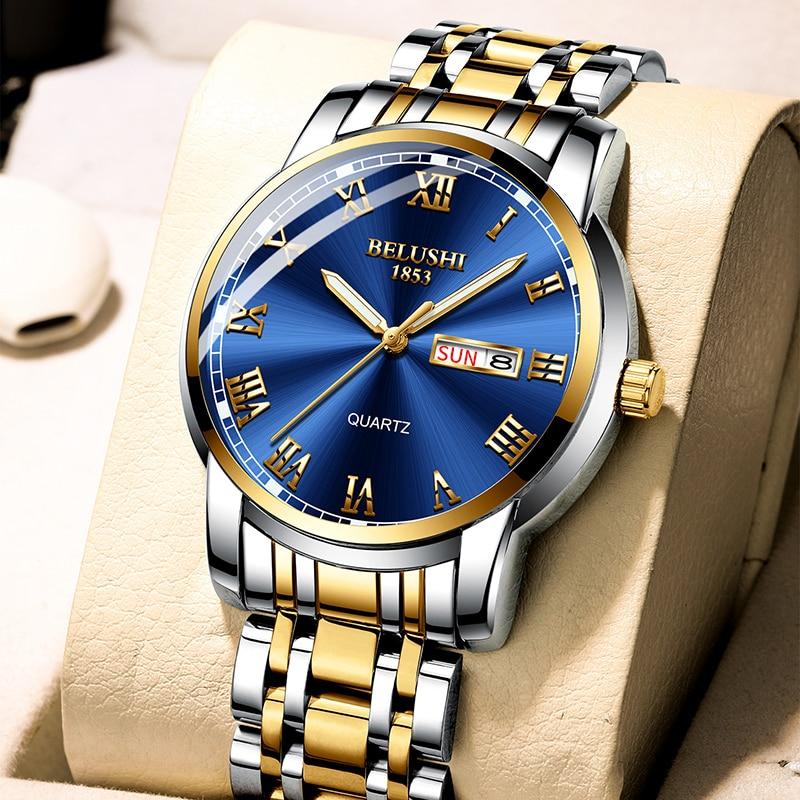 BELUSHI Top Brand Luxury Mens Watches Luminous Waterproof Stainless Steel Watch Quartz Men Date Calendar Business Wristwatch