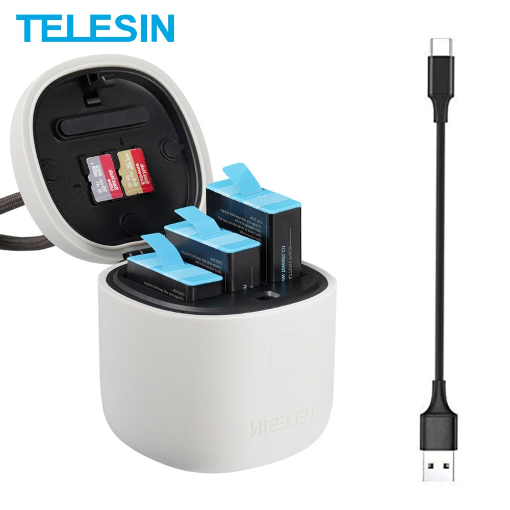 TELESIN 3 قطعة بطارية ل GoPro 9 10 الأسود 3 فتحات LED ضوء شاحن TF قارئ بطاقة صندوق تخزين ل GoPro بطل 9 10 اكسسوارات