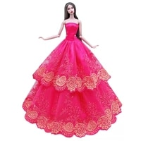 hot pink floral off shoulder lace princess dress for barbie doll clothes wedding party gown 16 bjd dolls accessories child gift