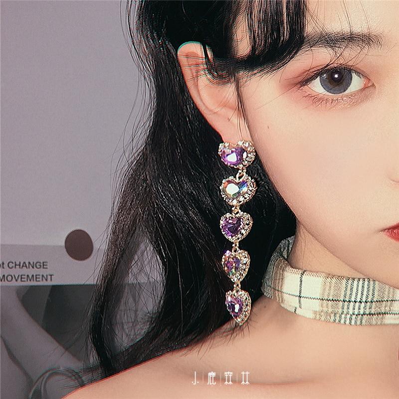 HUANZHI, nuevo hipérbole coreano, Vintage, arcoíris, cristal, estrás, púrpura, amor, corazón, pendientes largos de gota para mujer, joyería de boda