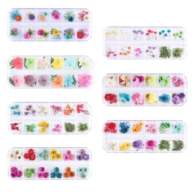 12 12 rejilla/caja de relleno epoxi de cristal flores secas hechas a mano DIY artesanía moldes de silicona resina UV Material de relleno Decoración