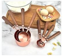 4 sztuk/zestaw różowe złoto miarka ze skalą z zagęszczonym drewnianym uchwytem ze stali nierdzewnej miedziowany przyrząd do pieczenia