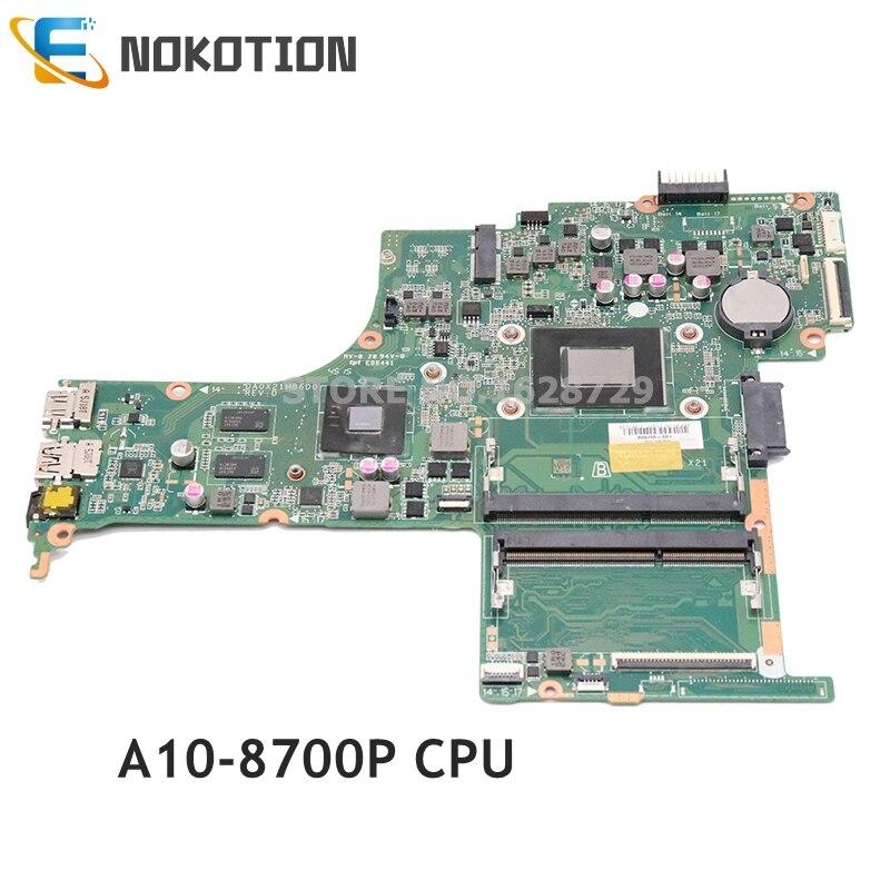 NOKOTION 806765-601 806765-501 806765-001 For HP Pavilion 14-AB Laptop motherboard DA0X21MB6D0 DDR3L A10-8700P CPU