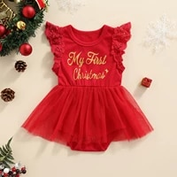 christmas baby girl rompers newborn infant baby lace fly sleeve letter jumpsuit xmas baby costumes