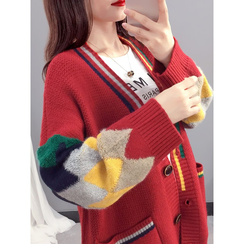 Medium and long sweater coat women's spring women's 2021 new early spring knitted cardigan loose lazy wind outside enlarge