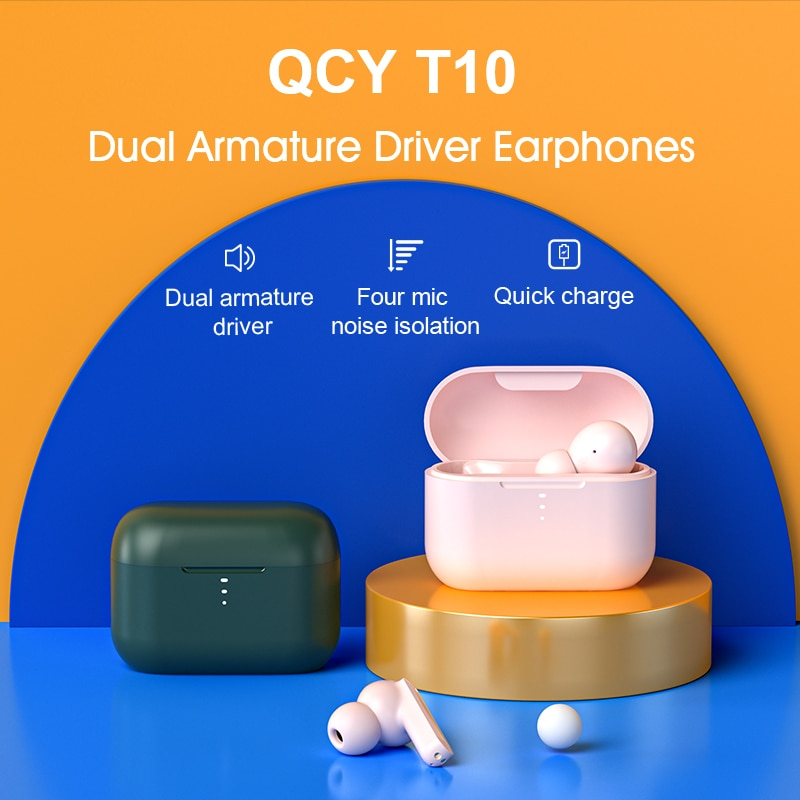 QCY  T10 Bluetooth 5.0 Earphones Sports In-Ear Headphones Ultra-Long Standby