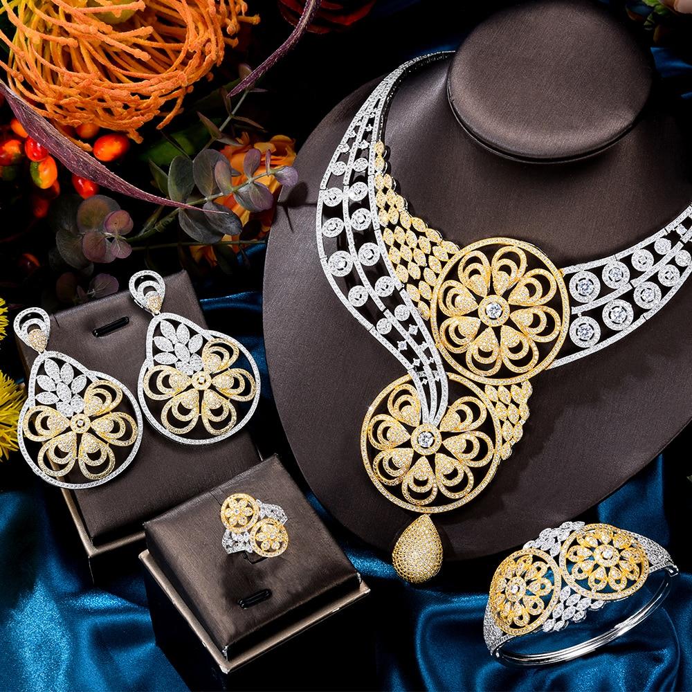 GODKI الفاخرة Bicolor الزهور المستديرة الأفريقية مجموعات مجوهرات للنساء الزفاف الكامل مايكرو زركون فستان قلادة طقم أقراط