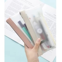 simple frosted transparent color pencil case pen bag tpu waterproof matte storage pouch for stationery school travel wallet f388