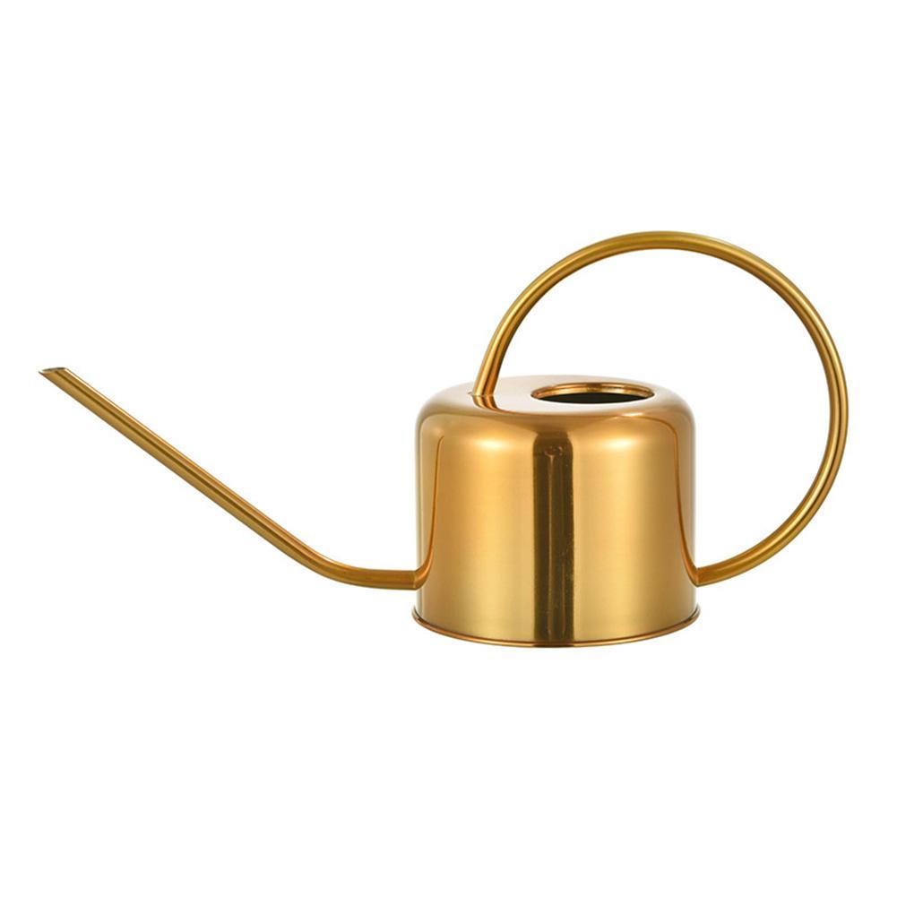 Hervidor de agua de 900ml de acero inoxidable dorado con mango para riego largo al aire libre puede plantar flores