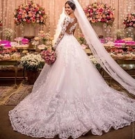 vintage full lace wedding dresses a line long sleeves illusion neckline sweep train romantic bridal formal wear plus size