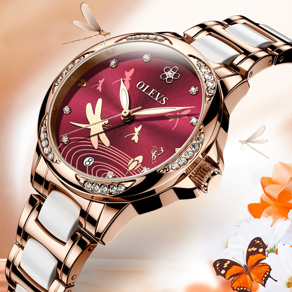 Valentine's Day gifts OLEVS Watch for Women luxury Automatic Mechanical butterfly ceramics with Stainless Steel lady watch 6610 enlarge