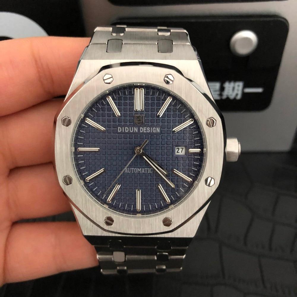 DIDUN Мужские автоматические механические часы Топ бренд Роскошные часы мужские стальные армейские военные часы мужские деловые наручные часы