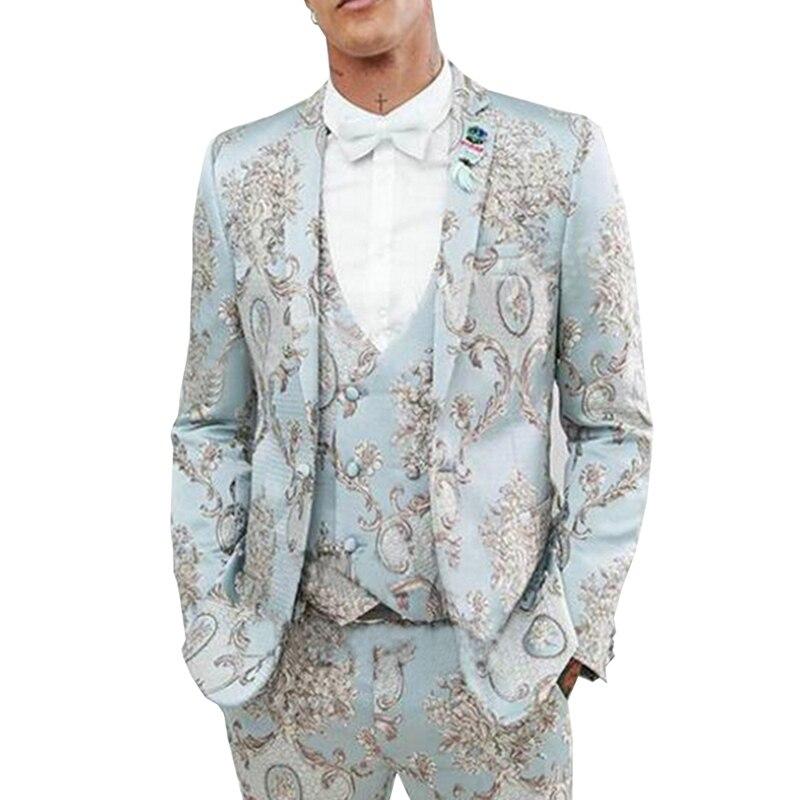 بدلة رجالية غير رسمية بزخارف نباتية ، ملابس حفلات التخرج ، سترة زرقاء فاتحة ، بدلة زفاف مخصصة لرفقاء العريس ، سترة ، 3 قطع