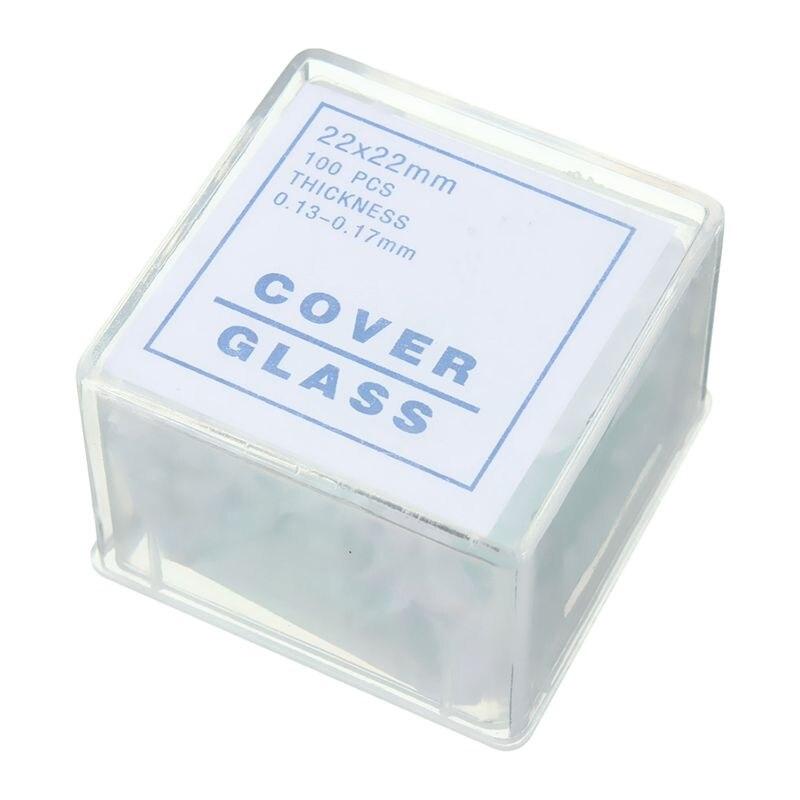 100 Uds diapositivas transparentes Coverslips Coverslides 22x22mm para microscopio
