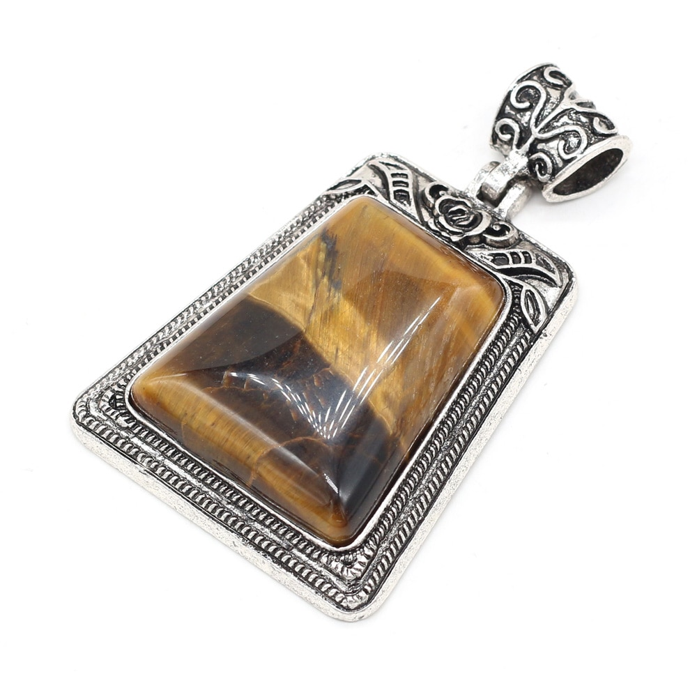 Natural Stone Pendant Charms Trapezoid Rose Quartzs Abalone Shell Pendant for Making Women DIY Jewelry Necklace Gift 50x80mm  - buy with discount