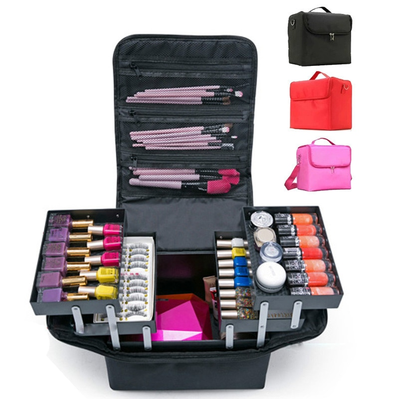 Make up bag hand-held large capacity multi-layer manicure hairdressing embroidery tool kit cosmetics