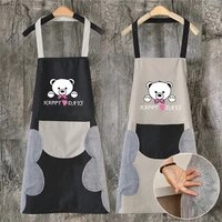 cartoon bear kitchen aprons for women men aprons for kitchen wipeable waterproof oil proof tablier cuisine cooking accessories