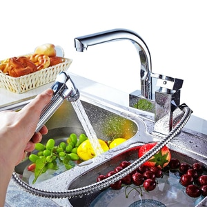 Kitchen Faucet 360Degree Rotatable Sink Basin Tap Silver Pull Out Bidet Faucet Single Handle Pull Down Spray Mixer Tap Kitchen