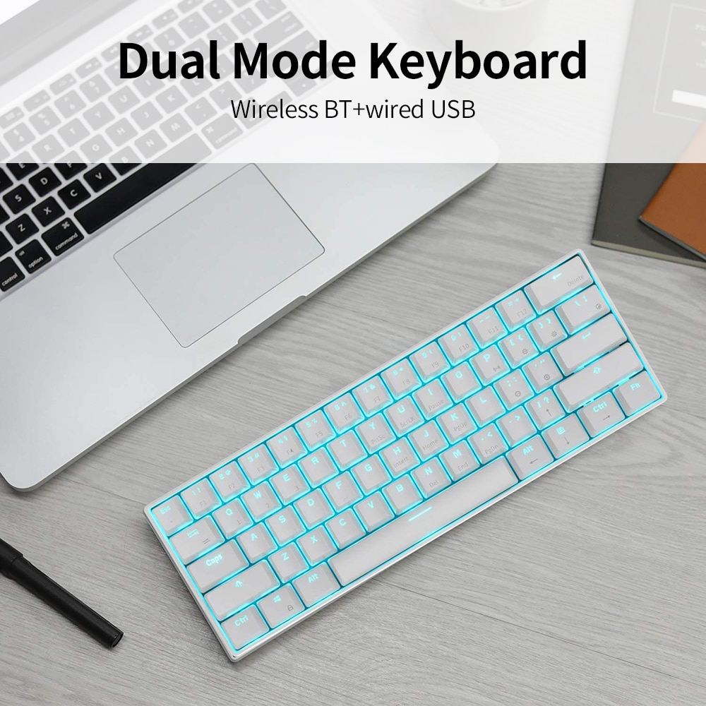 RK61 Mini Mechanical Keyboard Blue Backlight 61 Key BT Dual Mode Keyboard for Gamer Phone/Tablet White with Gateron Red Switches enlarge