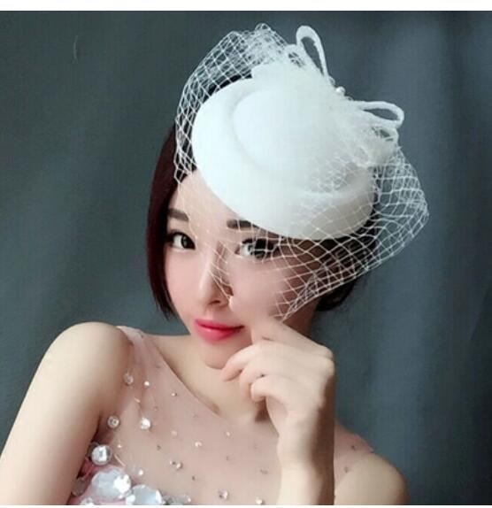 Bride's lace screen hat The Great Britons of the Restoration of Antiquity Cheongsam hat Dress Veil Headdress for Little Hat Fema