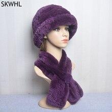 Fashion Girl Fur Cap Lady Winter Warm Real Rex Rabbit Fur Hat Scarf Suit High Quality Luxury Women 1