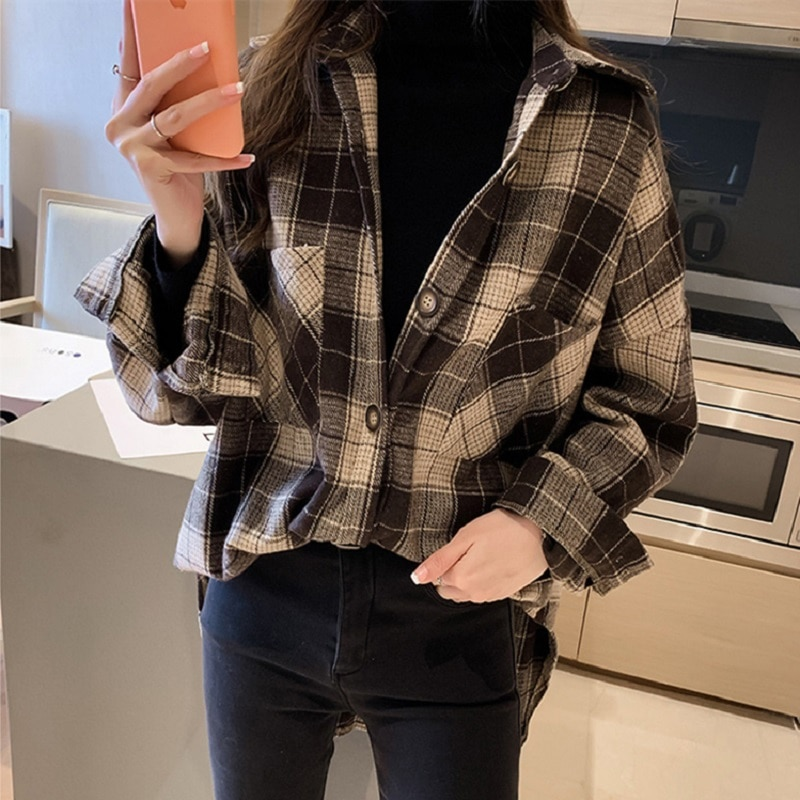 Chic Checked Long Sleeve Casual Print Blouse Shirt Women Loose Shirts Female Tops Plus Size Ladies Oversized Plaid Shirt рубашка urban classics ladies checked flanell shirt black white l