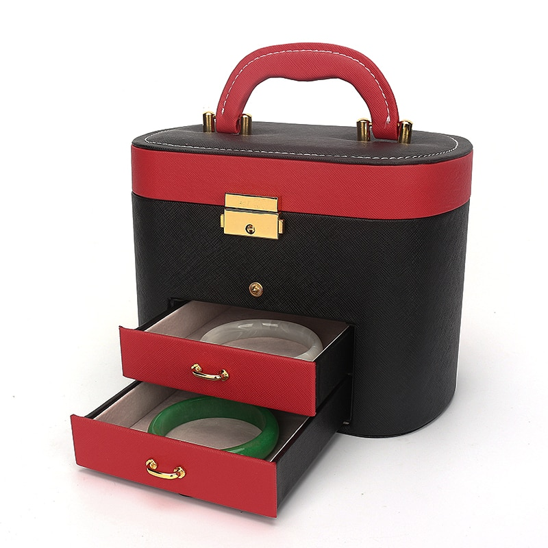 Portable Multifunctional Metal Lock PU Leather Jewelry Boxes Jewellery Storage Box Three-layer Card Slot With Makeup Mirror