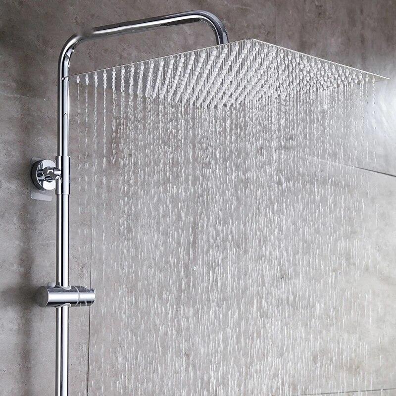 8/10/12/16 Inch Rainfall Shower Head Square Chrome Ceiling Rain Stainless Steel Showerhead Water Saving Heads