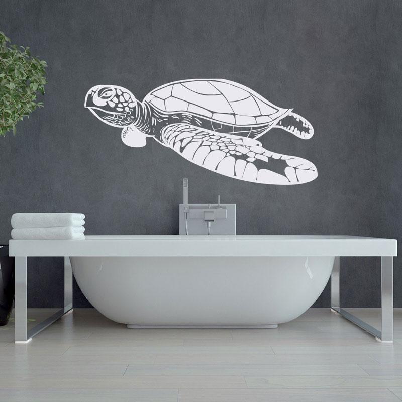 Tortuga de mar con Pared de burbujas pegatinas Mar Océano Animal Home Decor vinilo DIY Interior adhesivo pegatina de la pared de baño arte Mural E810