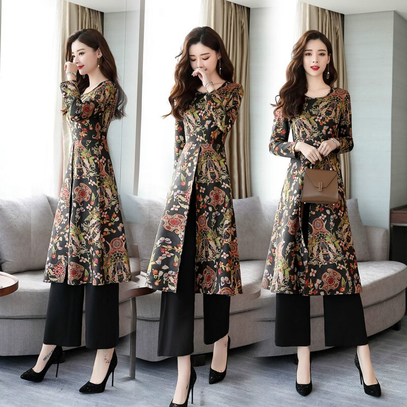 New Spring and Autumn Dress Temperament Retro Ethnic Style Printed Two-piece Female Dress Pants Suit