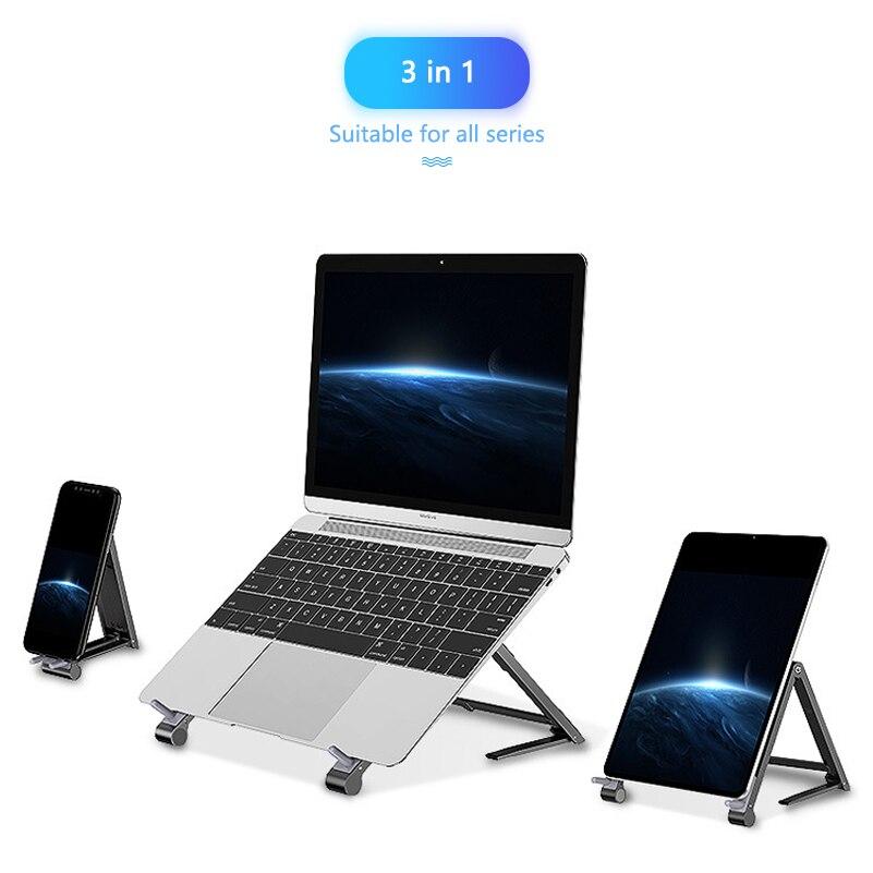 حامل هاتف خلوي عالمي 3 في 1 ، سبائك الألومنيوم ، قابل للطي ، لأجهزة الكمبيوتر المحمول ، iPad