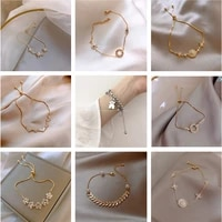 fashionable and simple aaa cubic zirconia pendant bracelet female round shiny crystal high sense bracelet female korean bracelet