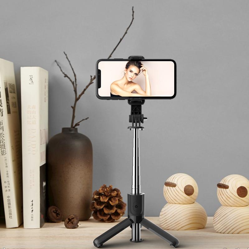 Selfie Mobile Phone Holder Mini Tripod Bracket Monopod Collapsible With Wireless bluetooth shutter For Android/IOS Smartphone